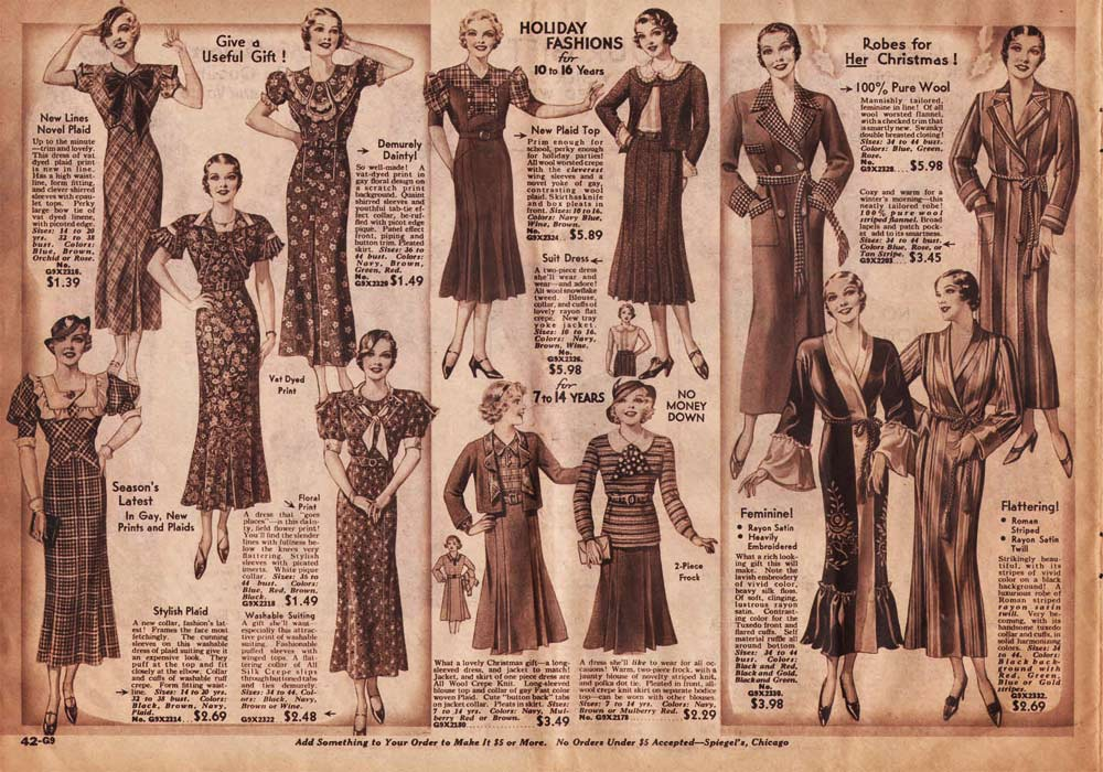 1930s Fashion Women Amp Girls Pictures Advertisements Amp Prices