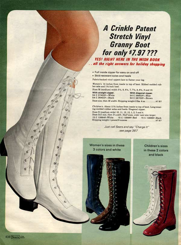 1970s Boots Crinkle Platform Granny Stretch Boots Amp More