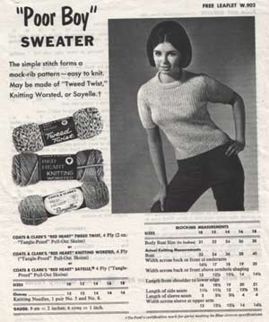 8a2e4b4fddb29 Fashion in 1965. Vintage Poor Boy Sweater Ad