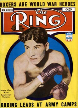 Ring Magazine cover featuring Manuel Ortiz (1943)