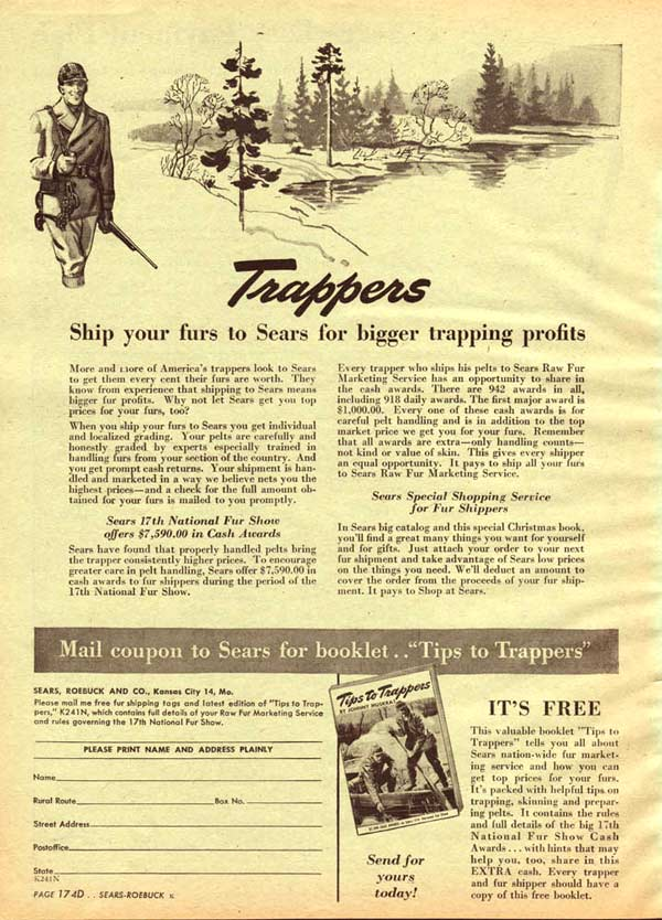 Trappers Send Furs to Sears (1945)