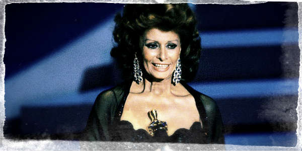 Sophia Loren accepting her honorary award at the 1990 Academy Awards