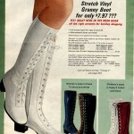 Crinkle patent stretch vinyl granny boots (1971)